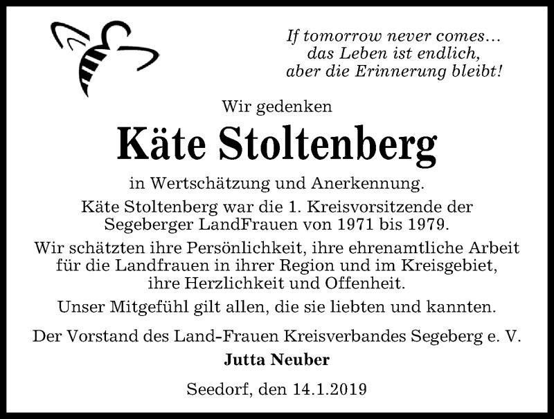Traueranzeige für Käte Stoltenberg vom 16.01.2019 aus Kieler Nachrichten