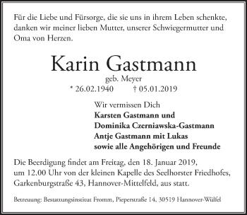 Traueranzeige für Karin Gastmann vom 12.01.2019 aus Hannoversche Allgemeine Zeitung/Neue Presse