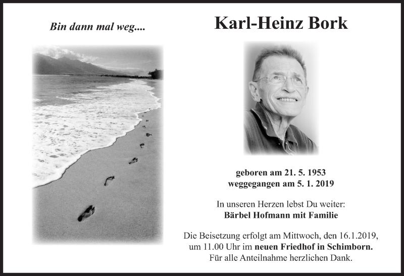 Traueranzeige für Karl-Heinz Bork vom 12.01.2019 aus Hannoversche Allgemeine Zeitung/Neue Presse