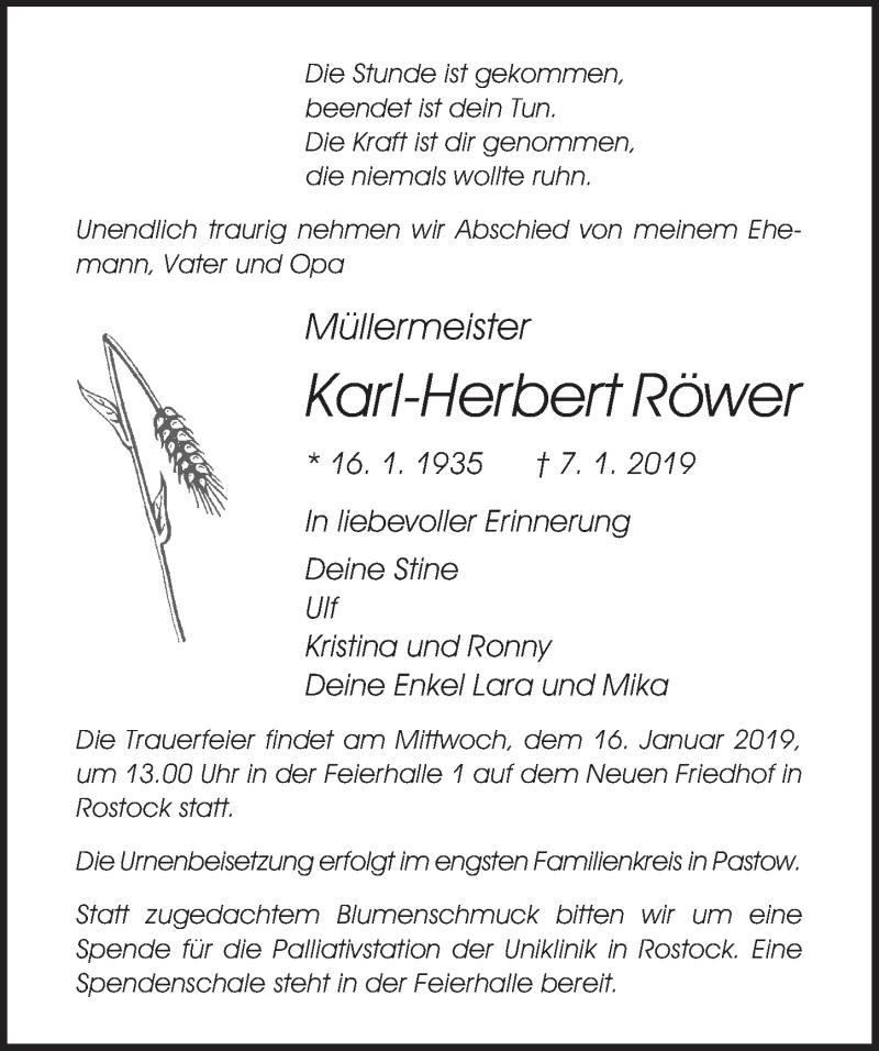 Traueranzeige für Karl-Herbert Röwer vom 12.01.2019 aus Ostsee-Zeitung GmbH