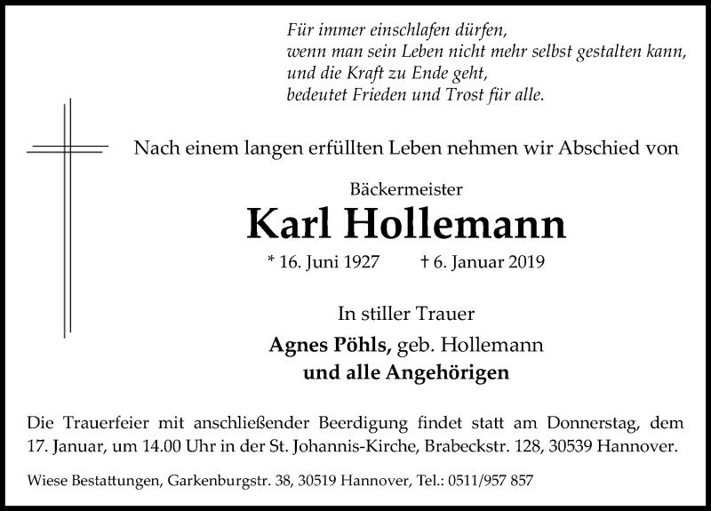 Traueranzeige für Karl Hollemann vom 12.01.2019 aus Hannoversche Allgemeine Zeitung/Neue Presse