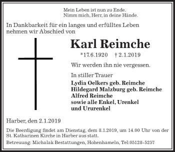 Traueranzeige für Karl Reimche vom 04.01.2019 aus Peiner Allgemeine Zeitung
