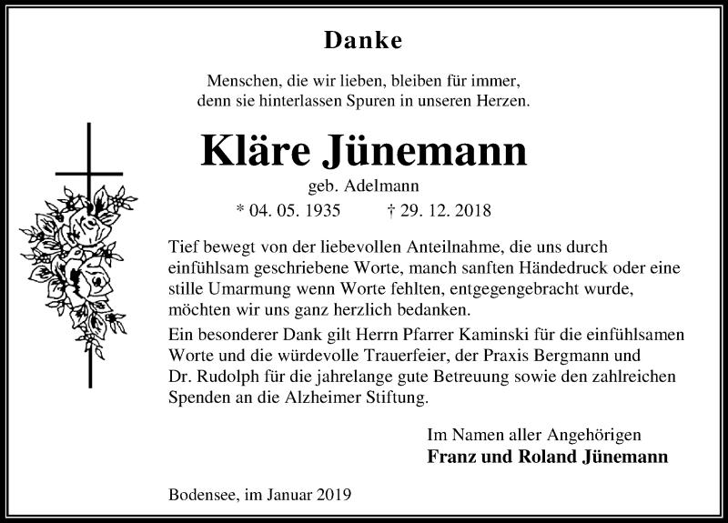 Traueranzeige für Kläre Jünemann vom 19.01.2019 aus Eichsfelder Tageblatt