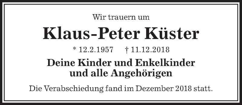 Traueranzeige für Klaus-Peter Küster vom 05.01.2019 aus Aller Zeitung