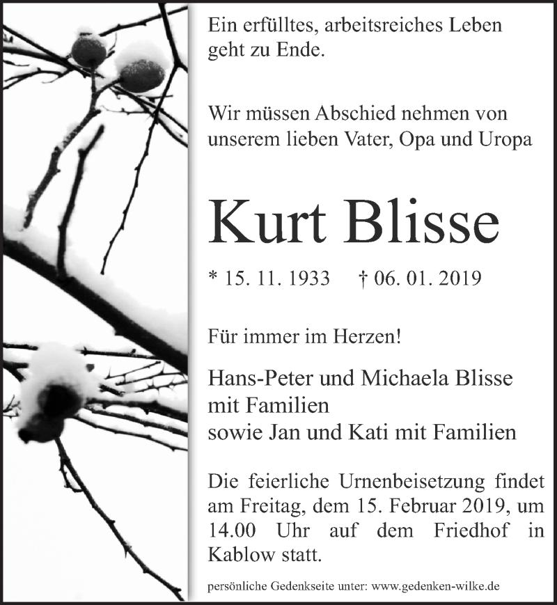 Traueranzeige für Kurt Blisse vom 12.01.2019 aus Märkischen Allgemeine Zeitung