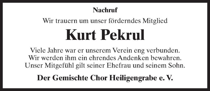 Traueranzeige für Kurt Pekrul vom 19.01.2019 aus Märkischen Allgemeine Zeitung