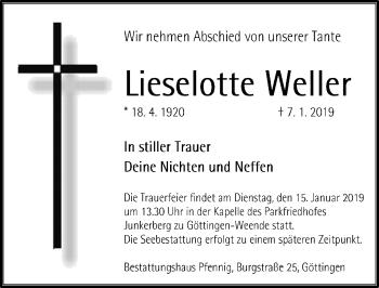 Traueranzeige für Lieselotte Weller vom 12.01.2019 aus Göttinger Tageblatt