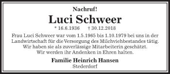 Traueranzeige für Luci Schweer vom 10.01.2019 aus Peiner Allgemeine Zeitung