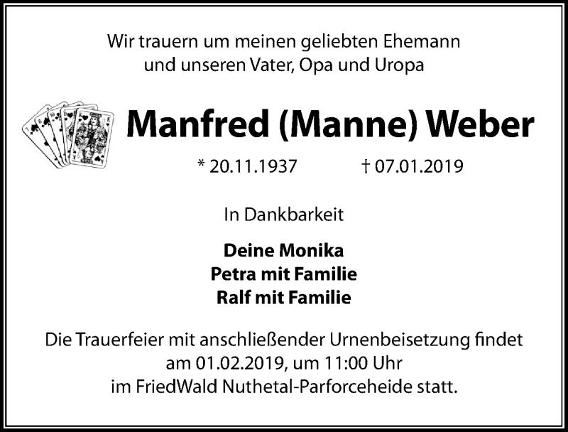 Traueranzeige für Manfred Weber vom 12.01.2019 aus Märkischen Allgemeine Zeitung
