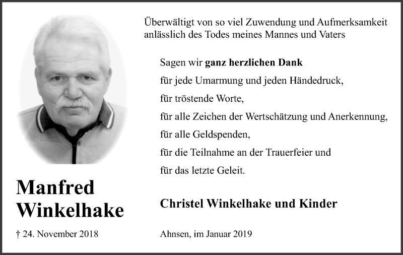 Traueranzeige für Manfred Winkelhake vom 12.01.2019 aus Schaumburger Nachrichten