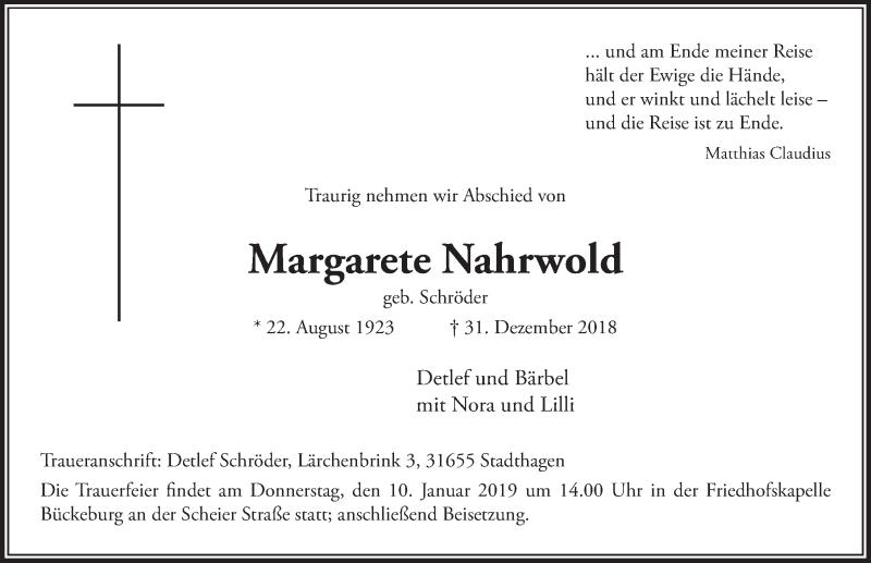 Traueranzeige für Margarete Nahrwold vom 05.01.2019 aus Schaumburger Nachrichten