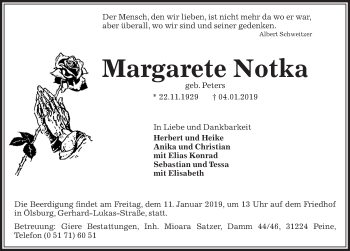 Traueranzeige für Margarete Notka vom 08.01.2019 aus Peiner Allgemeine Zeitung