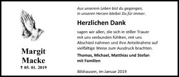 Traueranzeige für Margit Macke vom 26.01.2019 aus