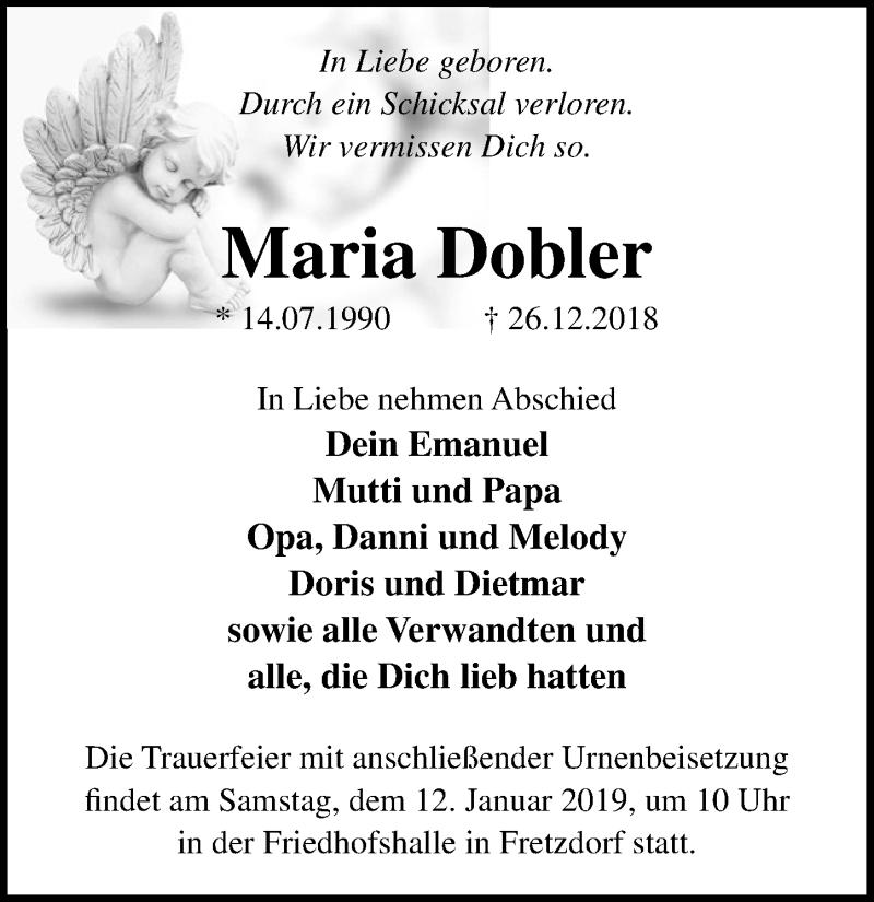 Traueranzeige für Maria Dobler vom 05.01.2019 aus Märkischen Allgemeine Zeitung