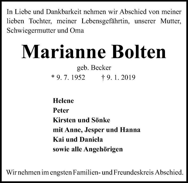 Traueranzeige für Marianne Bolten vom 12.01.2019 aus Kieler Nachrichten
