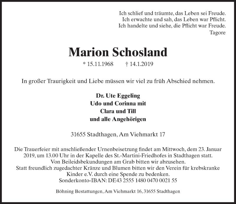 Traueranzeige für Marion Schosland vom 19.01.2019 aus Schaumburger Nachrichten