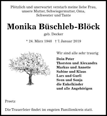 Traueranzeige für Monika Büschleb-Blöck vom 12.01.2019 aus Kieler Nachrichten
