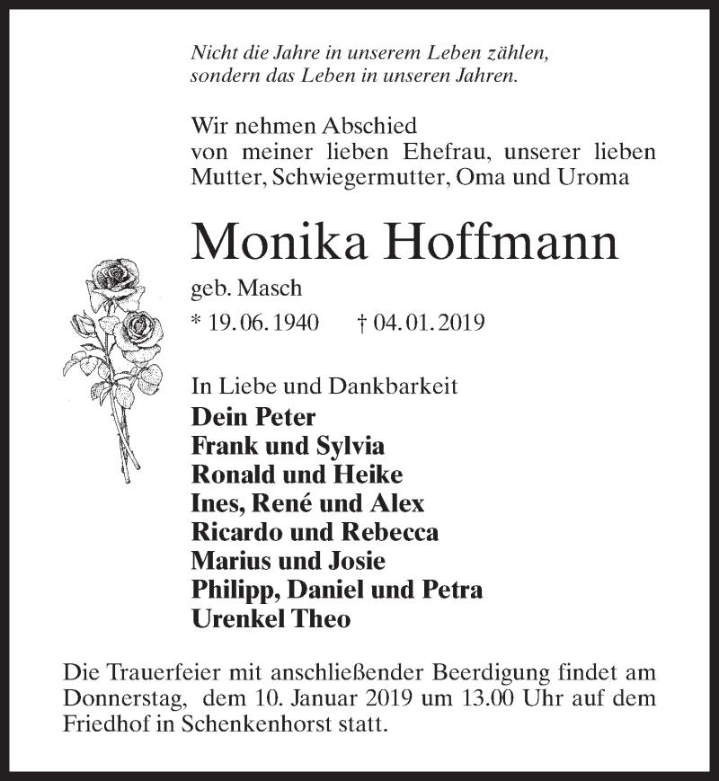 Traueranzeige für Monika Hoffmann vom 08.01.2019 aus Märkischen Allgemeine Zeitung