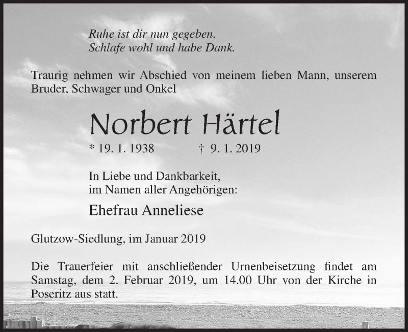 Traueranzeige für Norbert Härtet vom 12.01.2019 aus Ostsee-Zeitung GmbH