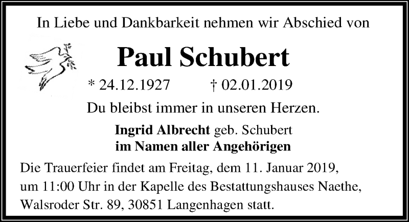 Traueranzeige von  Paul Schubert