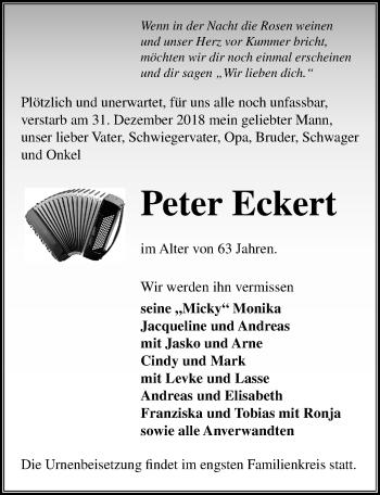 Traueranzeige für Peter Eckert vom 05.01.2019 aus Märkischen Allgemeine Zeitung