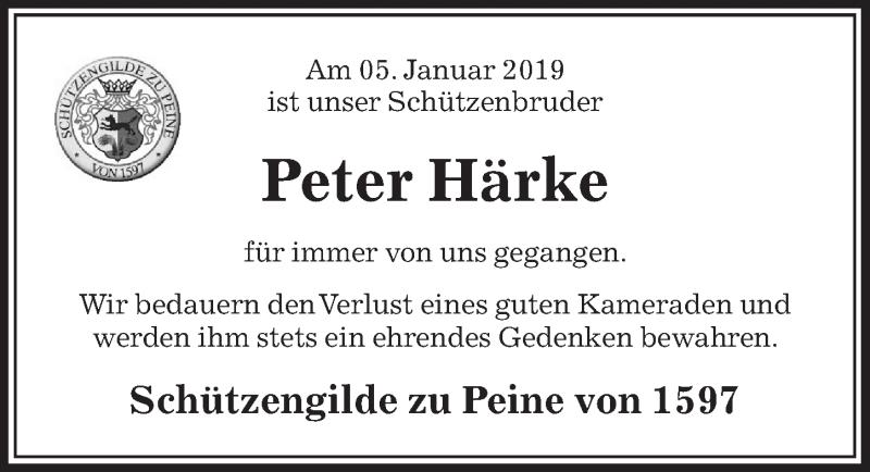 Traueranzeige für Peter Härke vom 11.01.2019 aus Peiner Allgemeine Zeitung