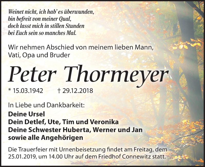 Traueranzeige von  Peter Thormeyer