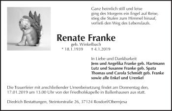 Traueranzeige für Renate Franke vom 12.01.2019 aus Göttinger Tageblatt