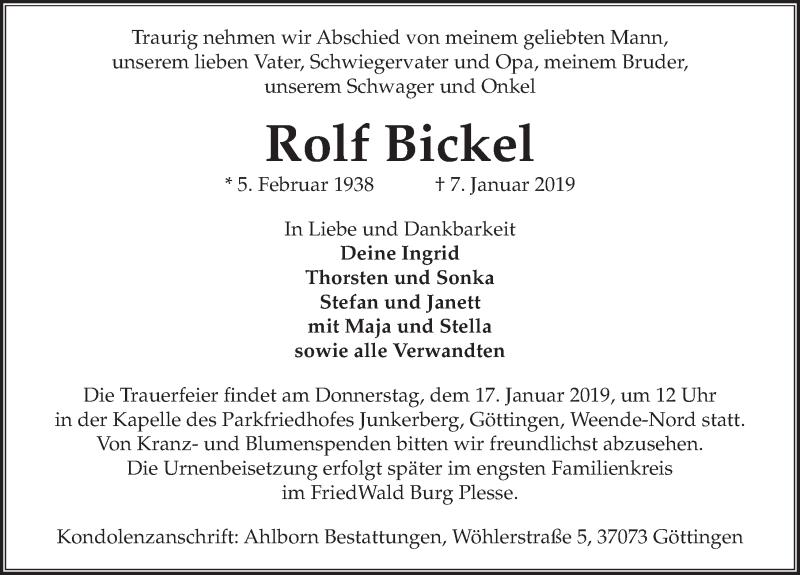 Traueranzeige für Rolf Bickel vom 12.01.2019 aus Göttinger Tageblatt