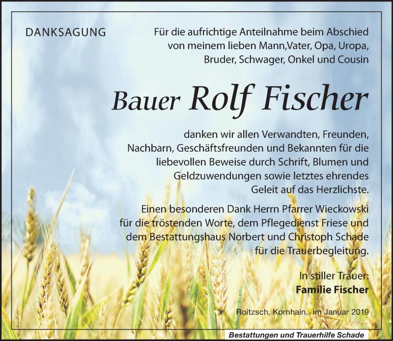 Traueranzeige von  Rolf Fischer