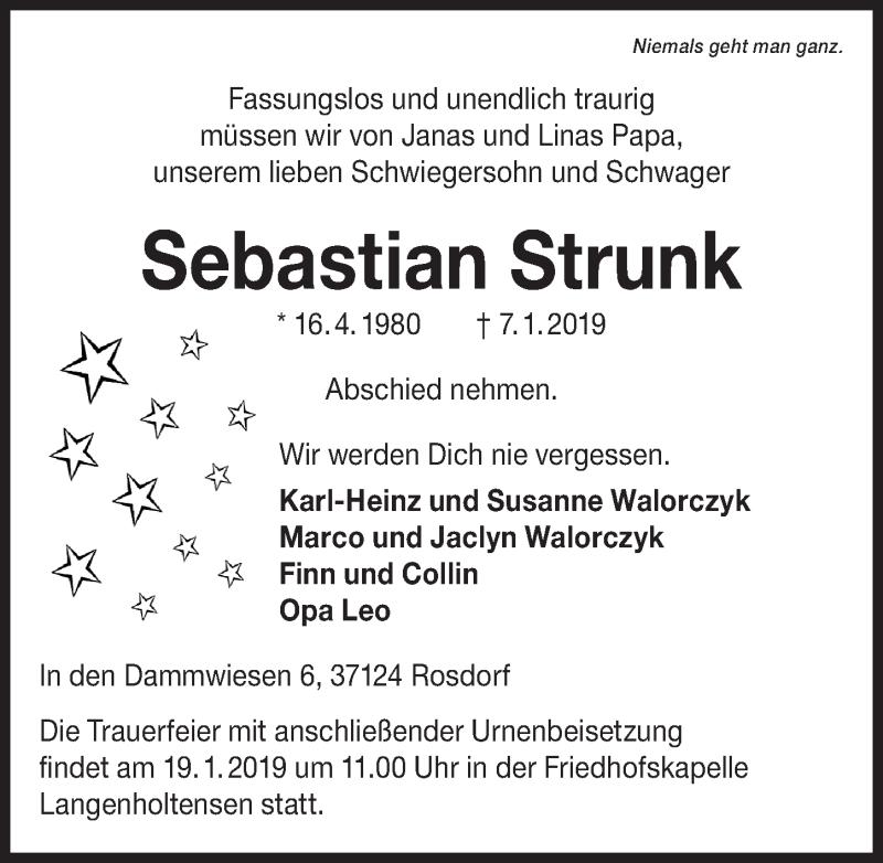 Traueranzeige für Sebastian Strunk vom 12.01.2019 aus Göttinger Tageblatt