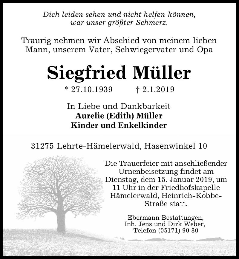 Traueranzeige für Siegfried Müller vom 09.01.2019 aus Peiner Allgemeine Zeitung