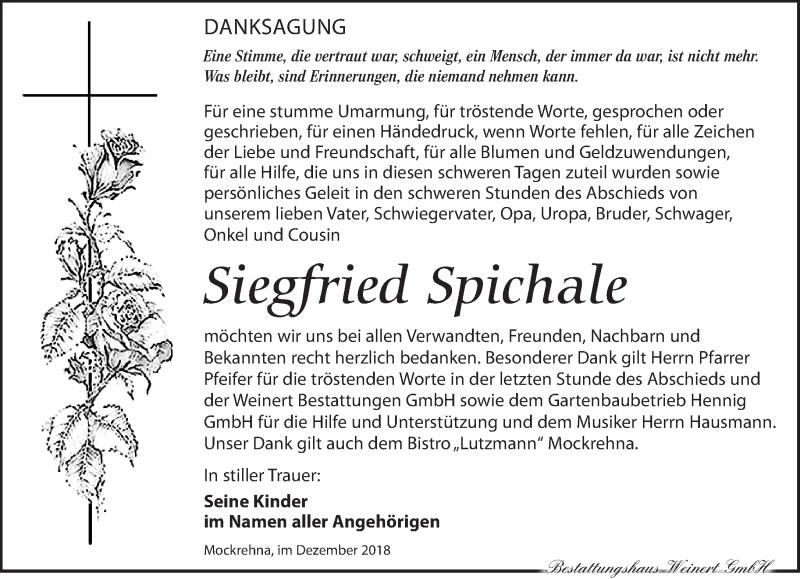 Traueranzeige für Siegfried Spichale vom 19.01.2019 aus Torgauer Zeitung