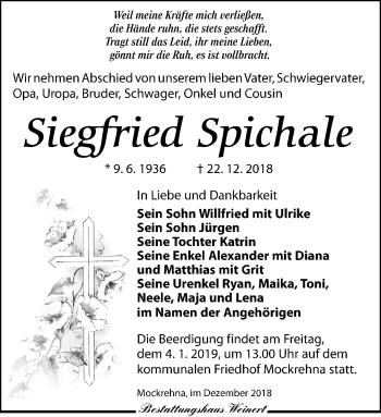 Traueranzeige für Siegfried Spichale vom 03.01.2019 aus Torgauer Zeitung