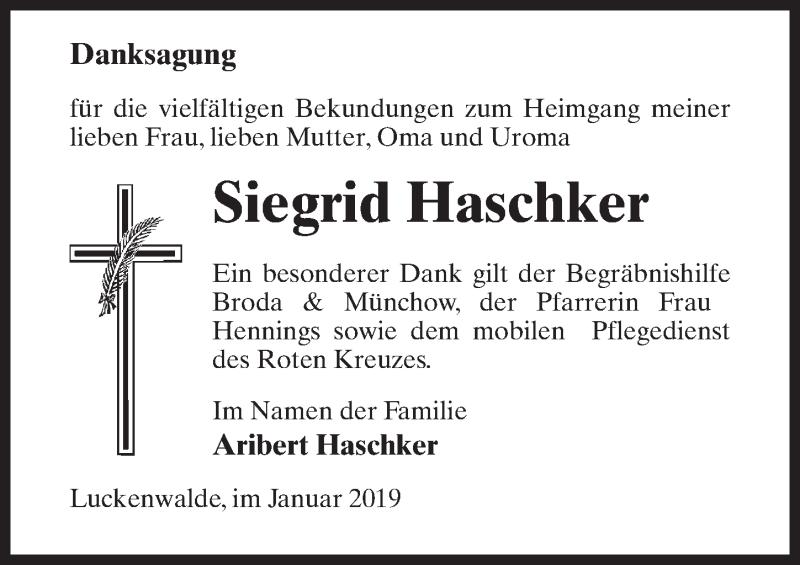 Traueranzeige für Siegrid Haschker vom 19.01.2019 aus Märkischen Allgemeine Zeitung