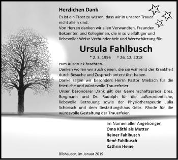 Traueranzeige für Ursula Fahlbusch vom 26.01.2019 aus