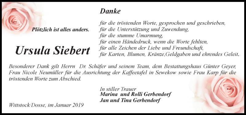Traueranzeige für Ursula Siebert vom 19.01.2019 aus Märkischen Allgemeine Zeitung