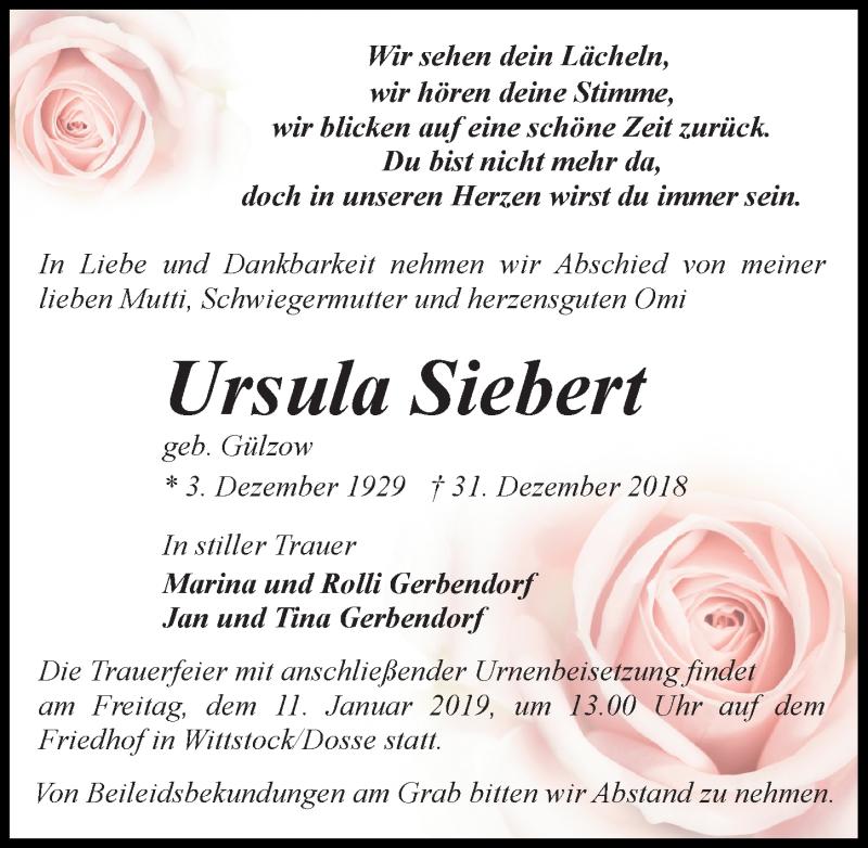 Traueranzeige für Ursula Siebert vom 05.01.2019 aus Märkischen Allgemeine Zeitung