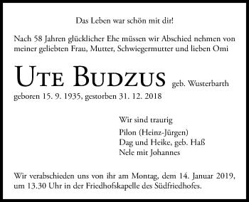 Traueranzeige für Ute Budzus vom 05.01.2019 aus Kieler Nachrichten
