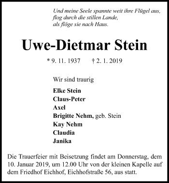 Traueranzeige für Uwe-Dietmar Stein vom 08.01.2019 aus Kieler Nachrichten