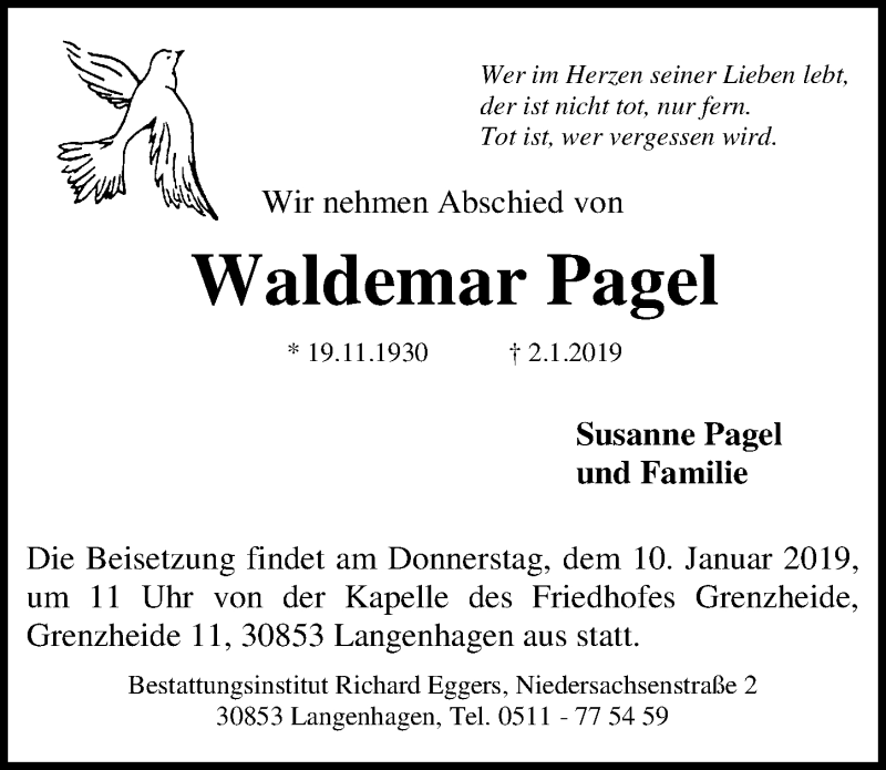 Traueranzeige für Waldemar Pagel vom 05.01.2019 aus Hannoversche Allgemeine Zeitung/Neue Presse