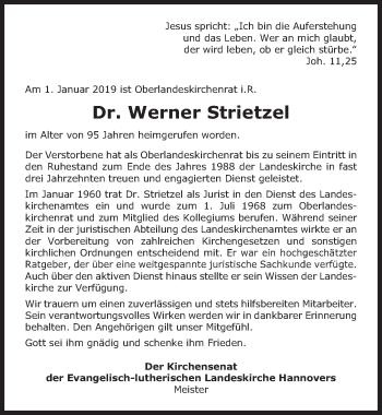 Traueranzeige für Werner Strietzel vom 10.01.2019 aus Hannoversche Allgemeine Zeitung/Neue Presse