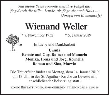 Traueranzeige für Wienand Weller vom 12.01.2019 aus Hannoversche Allgemeine Zeitung/Neue Presse