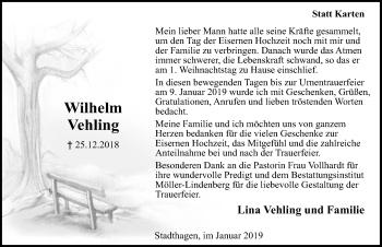Traueranzeige für Wilhelm Vehling vom 26.01.2019 aus