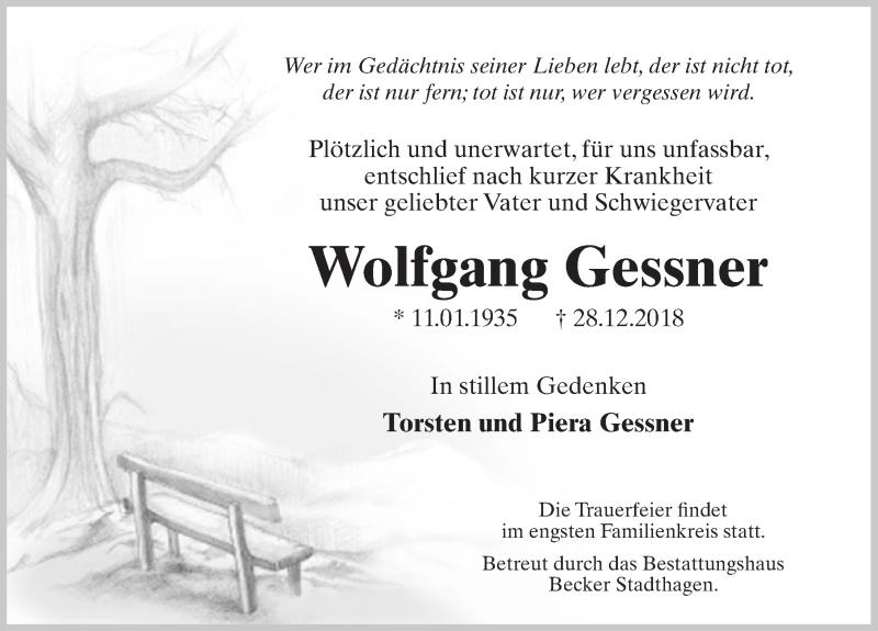 Traueranzeige für Wolfgang Gessner vom 05.01.2019 aus Schaumburger Nachrichten