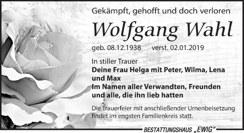 Traueranzeige von  Wolfgang Wahl