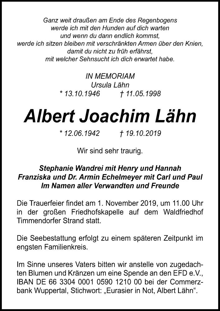 Traueranzeige für Albert Joachim Lähn vom 27.10.2019 aus Lübecker Nachrichten