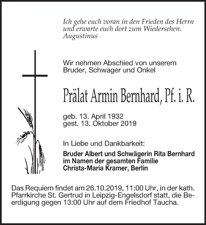 Traueranzeige für Armin Bernhard vom 19.10.2019 aus Leipziger Volkszeitung