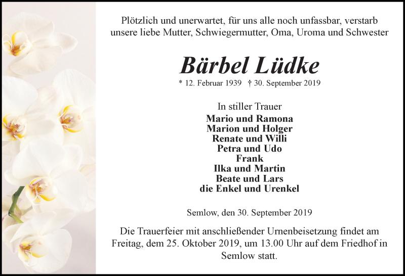 Traueranzeige für Bärbel Lüdke vom 05.10.2019 aus Ostsee-Zeitung GmbH