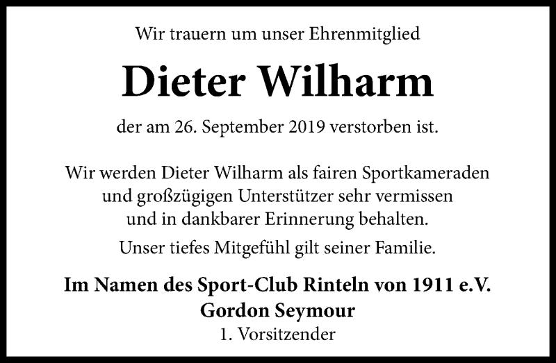 Traueranzeige für Dieter Wilharm vom 09.10.2019 aus Schaumburger Nachrichten